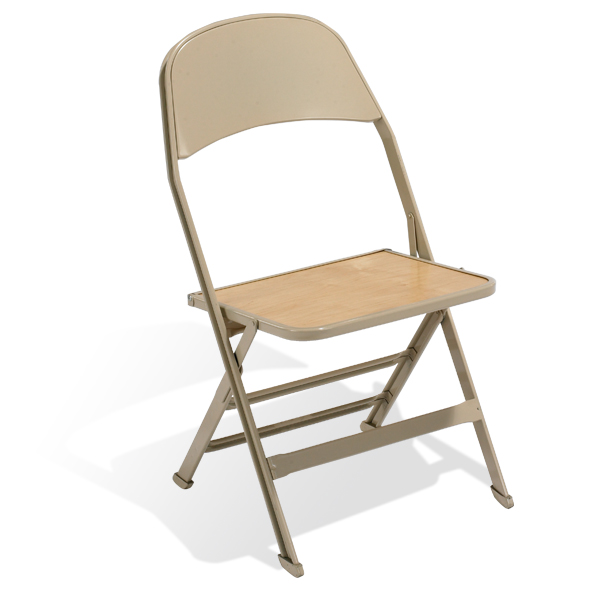 2517W  The wood seat adds a little style to your all-steel folding chair.