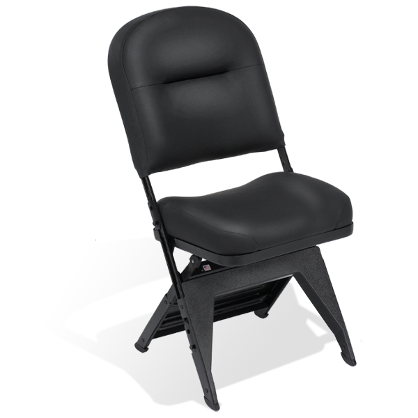 VIP  The most lavish of all portable folding chairs, the fully upholstered VIP offers the comfort of a fixed spectator seat with the convenience of being portable. Available with or without leg covers.