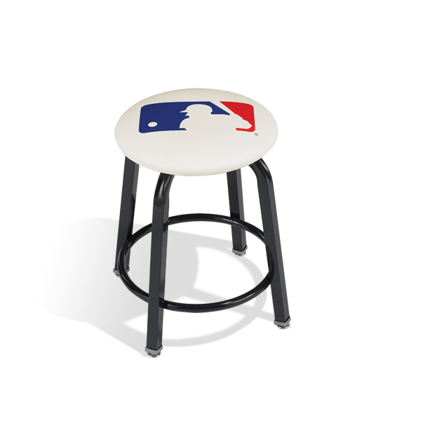 "118  18"" (457 mm) high stool with footring, your choice of frame color, vinyl or fabric color and a custom logo."