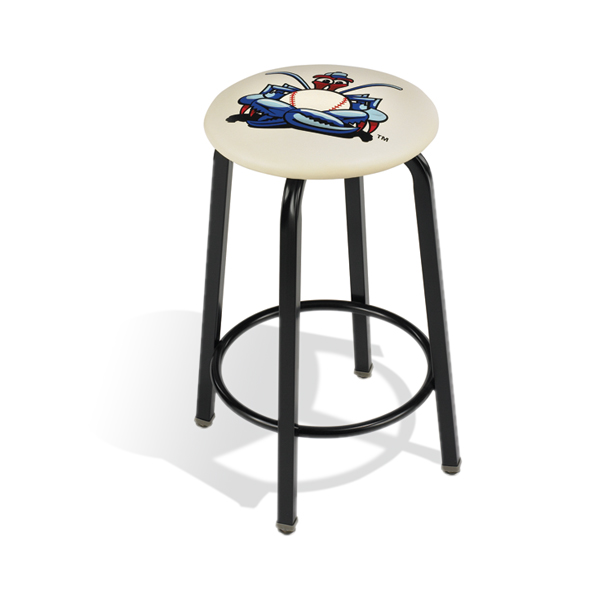 "124  24"" (610 mm) high stool with footring, your choice of frame color, vinyl color and custom logo."