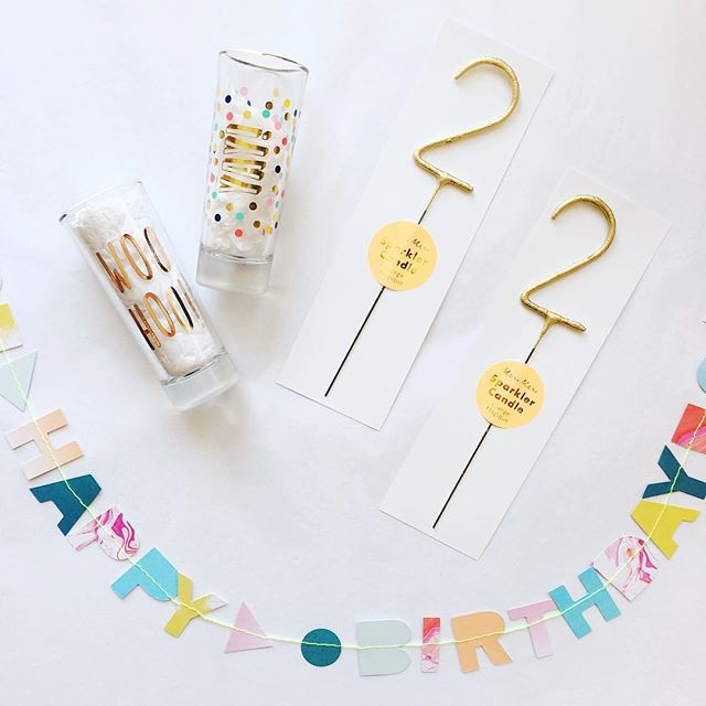 Cute birthday décor? We've got it. Sparkler candles, banners, adorable cards, variety of glasses, + so much more 🙂🎉✌🏻#feeling22