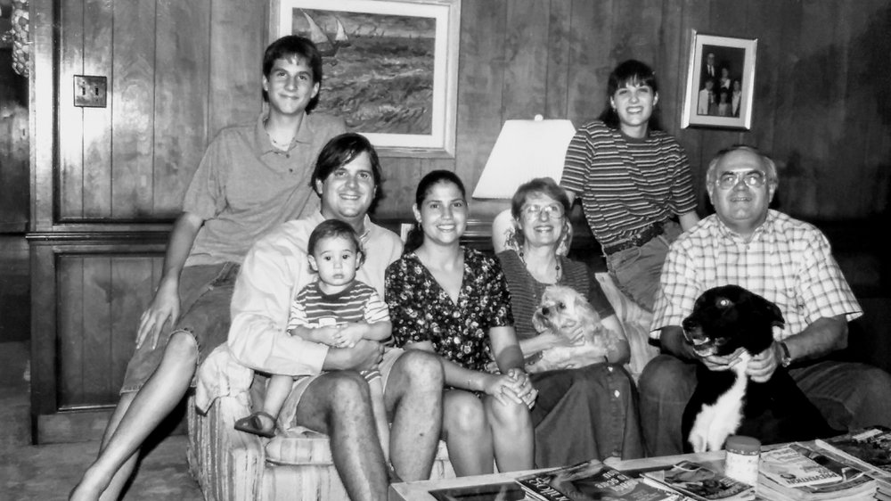 From left; Michael, Andy, Christian(on lap), Elena, Dianne, Taffy(on lap), Sarah, Boyd, Misha(in hands), 1996