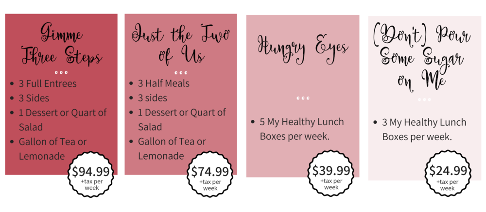 Copy of 3 Full Entrees3 SidesDessert or Quart of SaladGallon of Tea or Lemonade$94.99 plus tax per week-2.png
