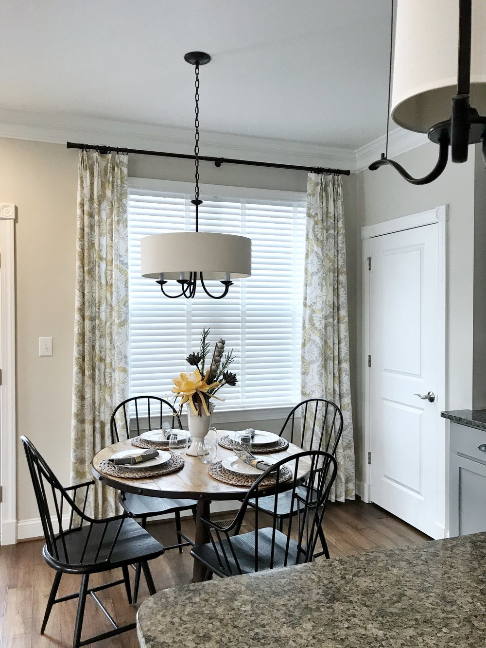 3rdGenBlinds white custom window blinds by kitchen table