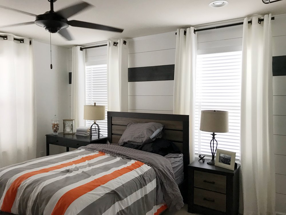 White custom window blinds in master bedroom by 3rdGenBlinds