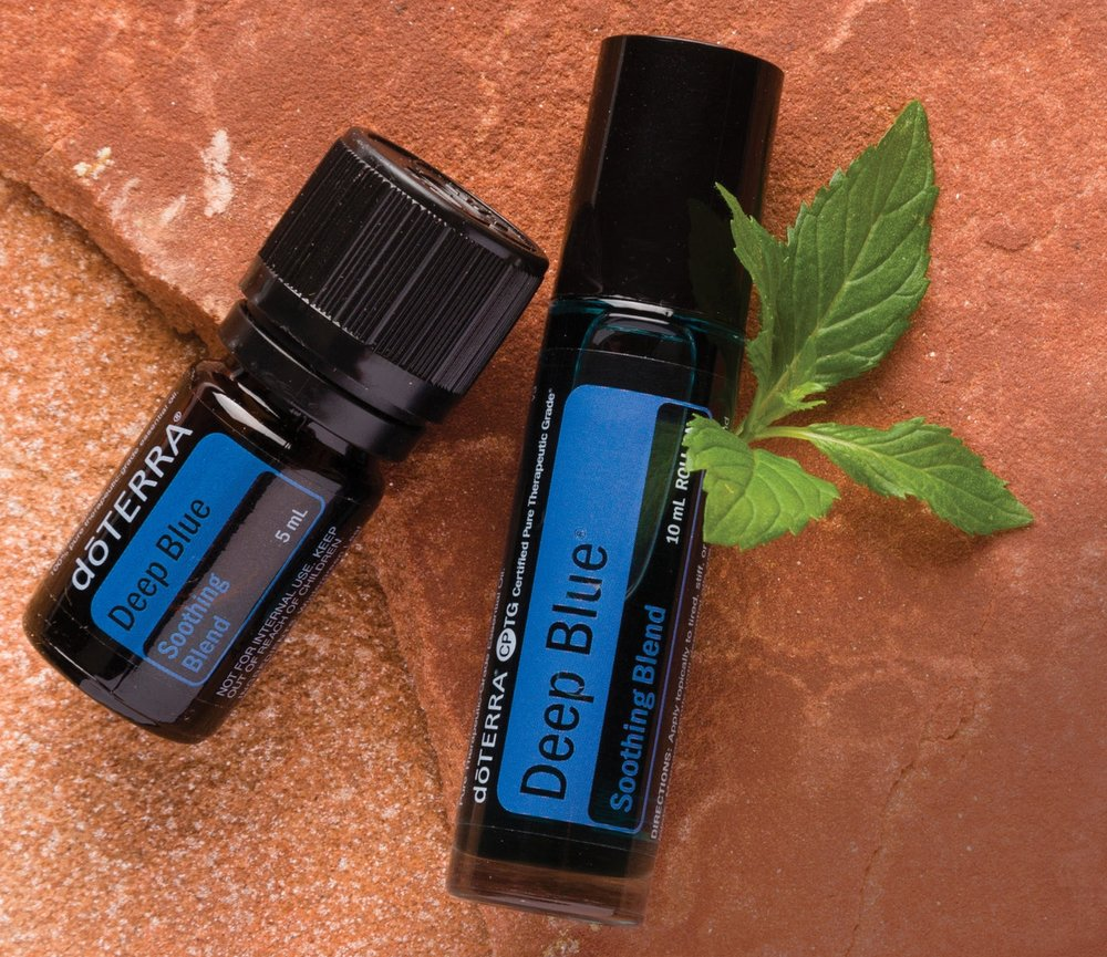 Deep Blue  - Pain relief: wintergreen, camphor, peppermintAnti-inflammatory/soothing: ylang ylang, blue tansy, blue chamomileCellular repair: helichrysum, osmanthus