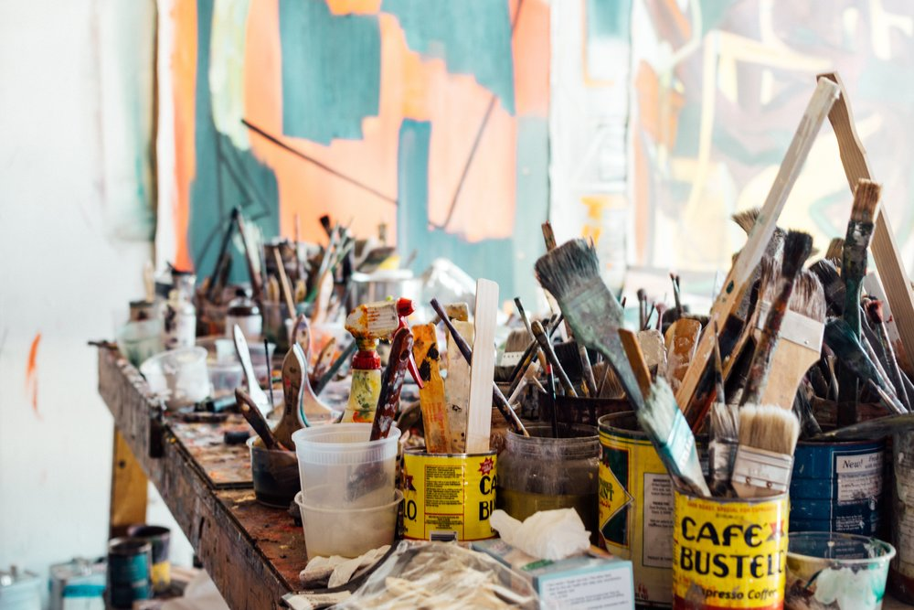 My perfect studio... filled to the brim with paintbrushes!