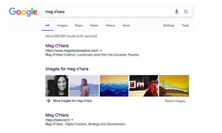 Here I am showing up first on Google! Big thanks to my new website's SEO.
