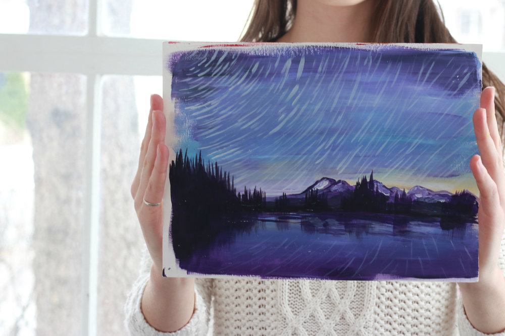 There will be smaller paintings as well, here is a painting inspired by the beautiful Canadian Rockies!