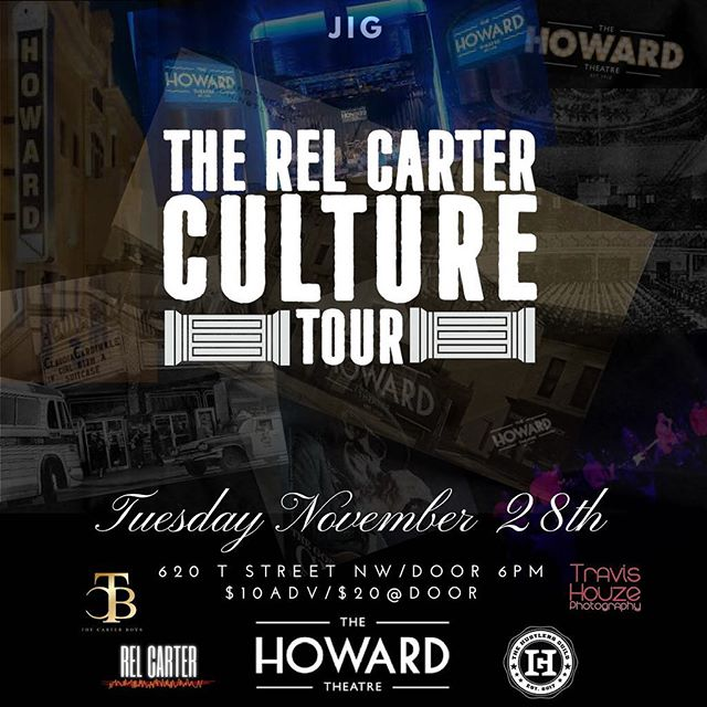 History in the making 🛫 The Rel Carter Culture Tour makes a surprise stop in the Nation's Capital November 28th! • • Join us at the legendary @howardtheatre for a very special evening including performers from previous stops, an exclusive panel and the debut of the Culture Tour Movie ahead of its digital release. Tickets available via link in bio. Limited availability 🎫 This is an evening you will not wanna miss. #relcarterculturetour #carterboys #dusselifestyle #carterwisdom