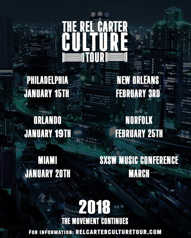 Constant Elevation. Submit to register now via official website. Registration is limited 🔑 •Philadelphia 1/15 •Orlando 1/19 •Miami 1/20 •New Orleans 2/3 •Norfolk 2/25 •SXSW Music Conference Week  #relcarterculturetour #carterboys #dusselifestyle #rocnation