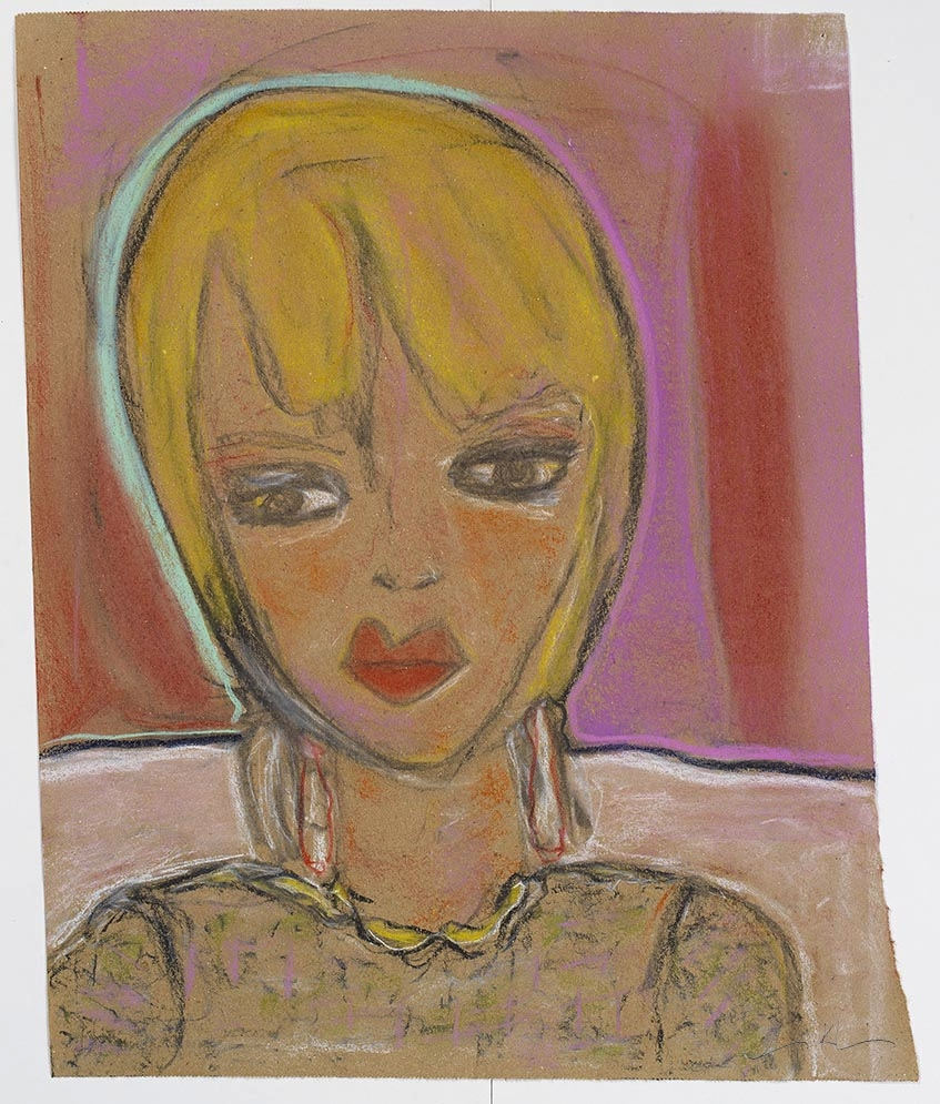 "Iris Klein © LOST AND FOUND Chalk Pastel on Archived Brown Paper 19""x14 3/4"""" 2017"