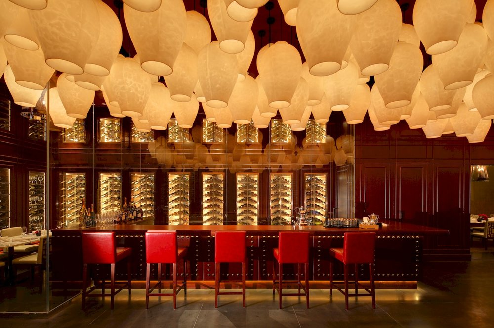 Yong Yi Ting at the Mandarin Oriental in Shanghai / Entry / Wine Bar. Photo:  Xu Fei