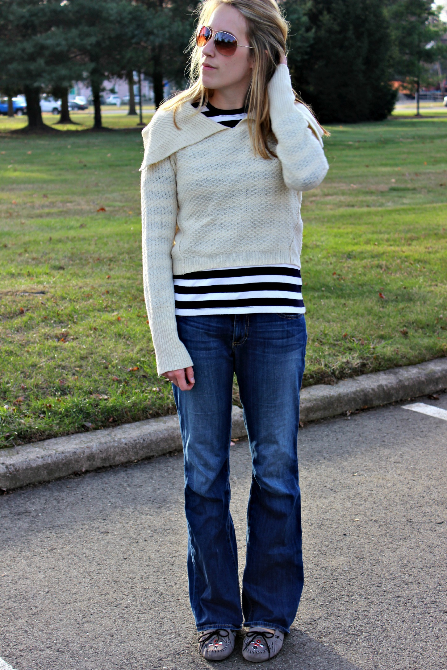 Cropped Cream Sweater for the Fall