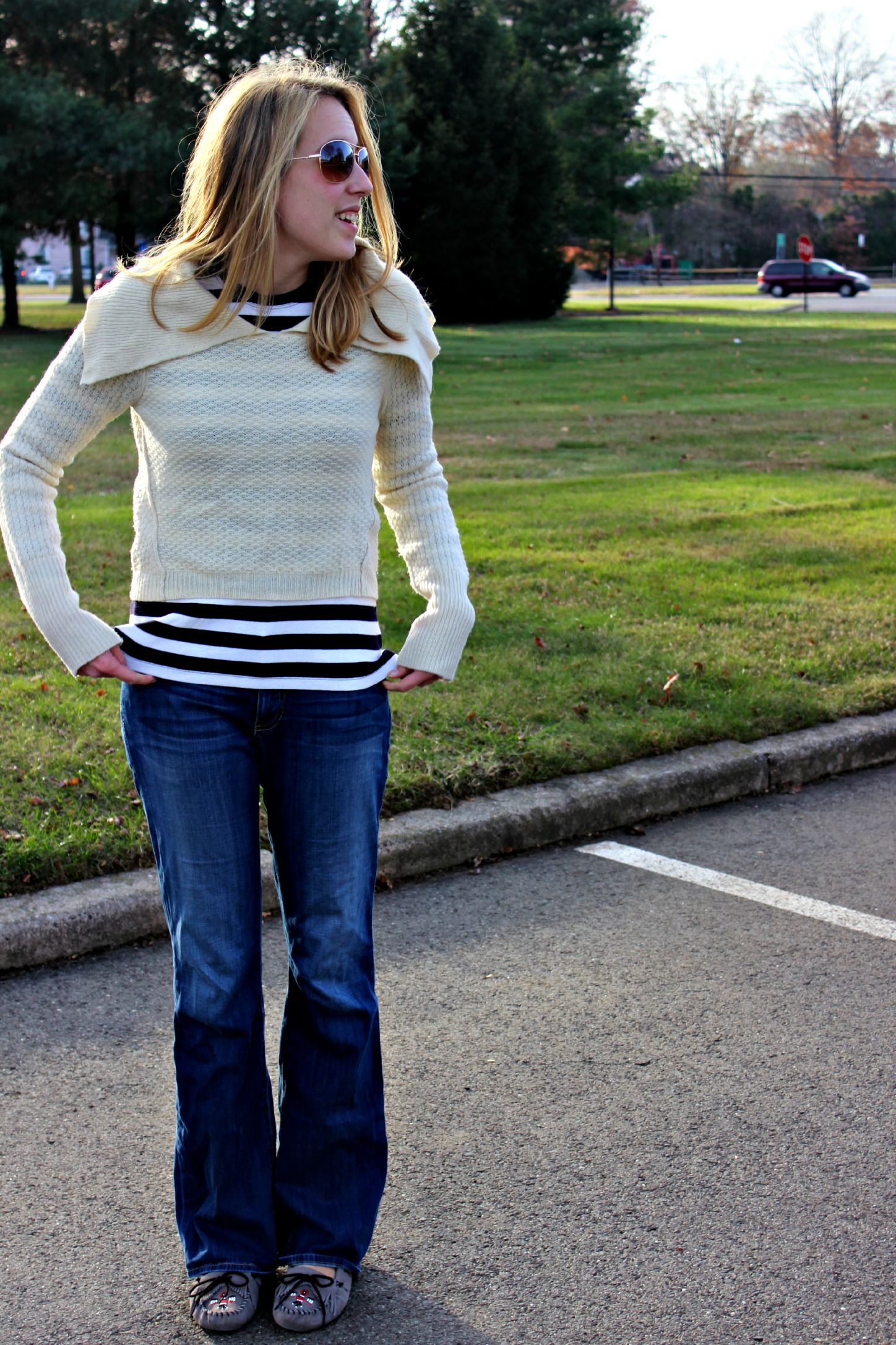 Cropped Cream Sweater for the Early Winter