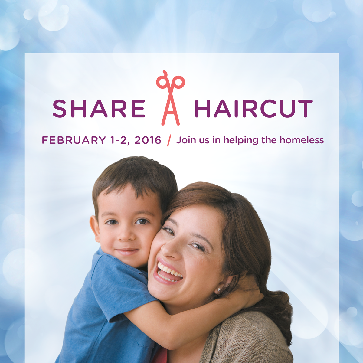 On February 1 and 2, get your hair cut at a Hair Cuttery Salon and they will donate a haircut to a homeless person in your area