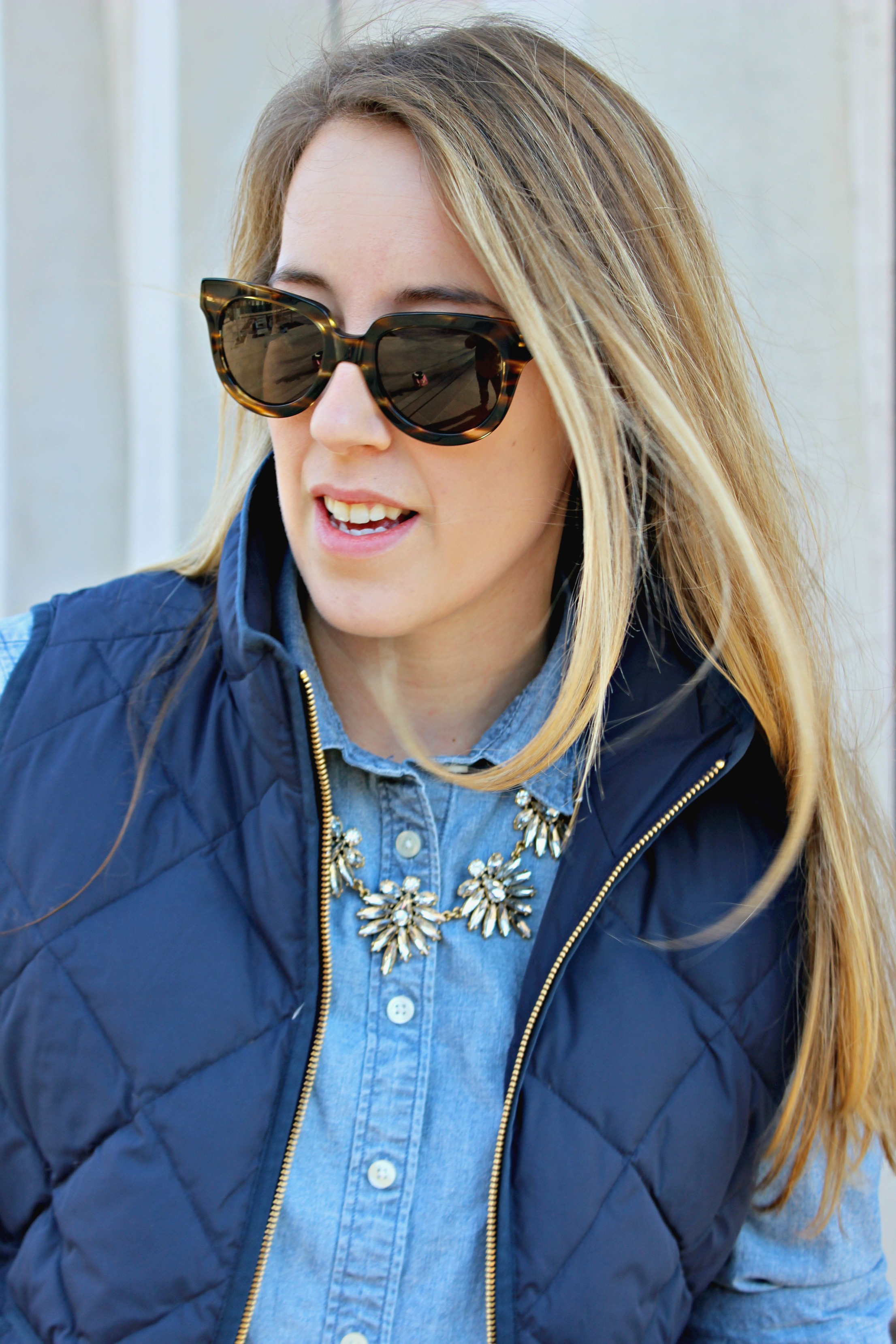 Wearing: blend in to blue chambray // how to pair a statement necklace with a blue monochrome outfit