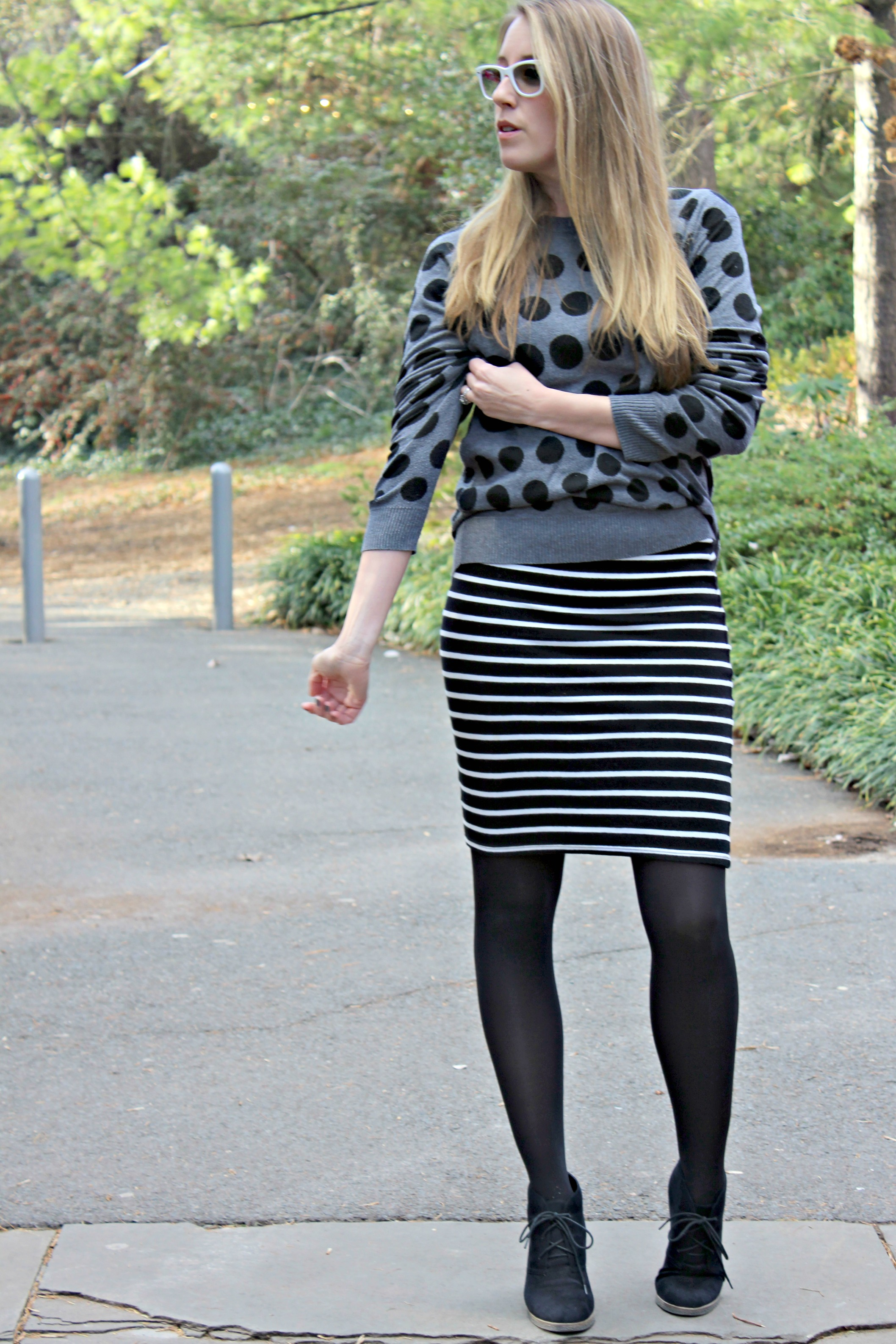 Wearing: Black and Spotty