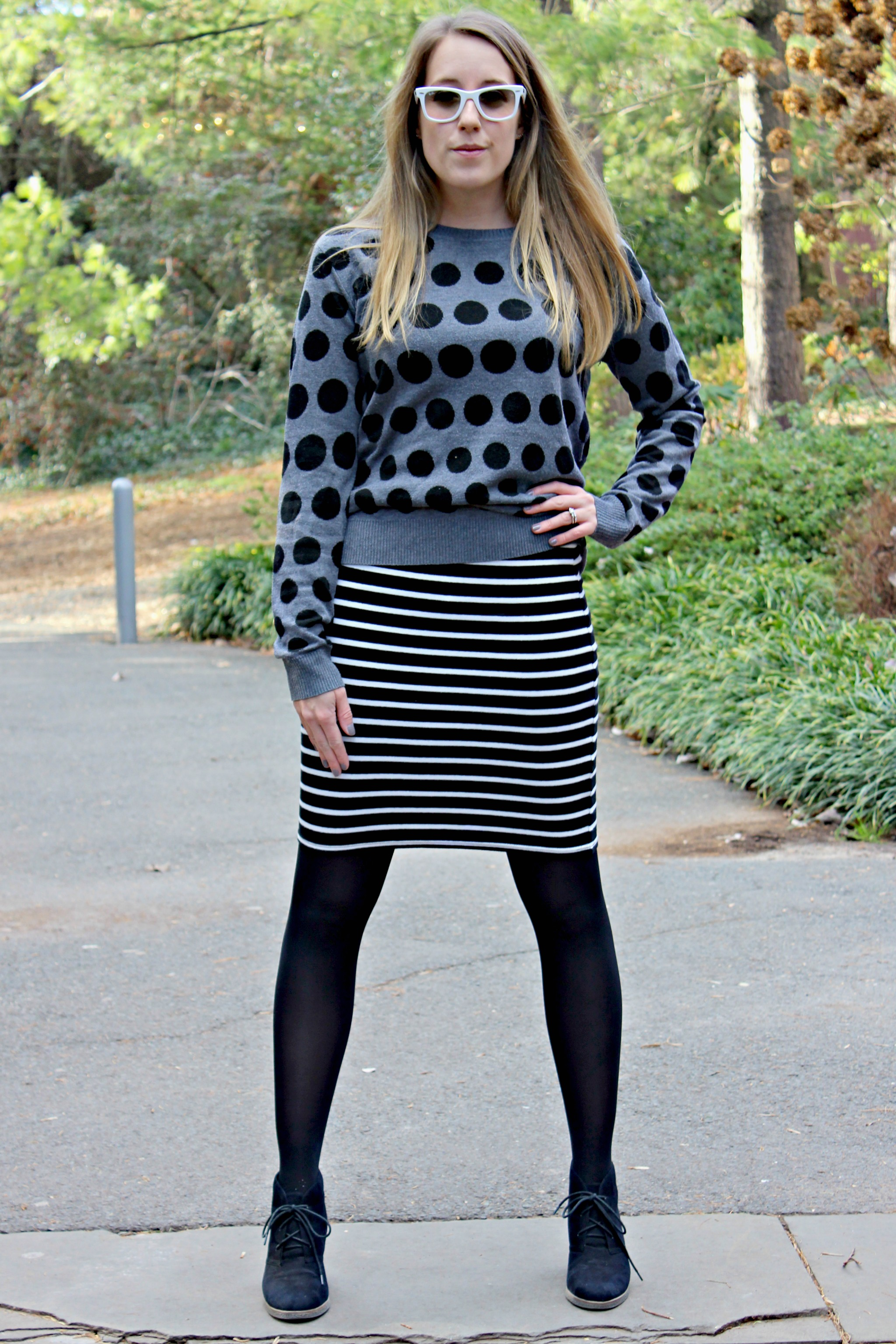 Wearing: Black and Spotty // never be afraid to mix your patterns when it comes to mixing black and grey