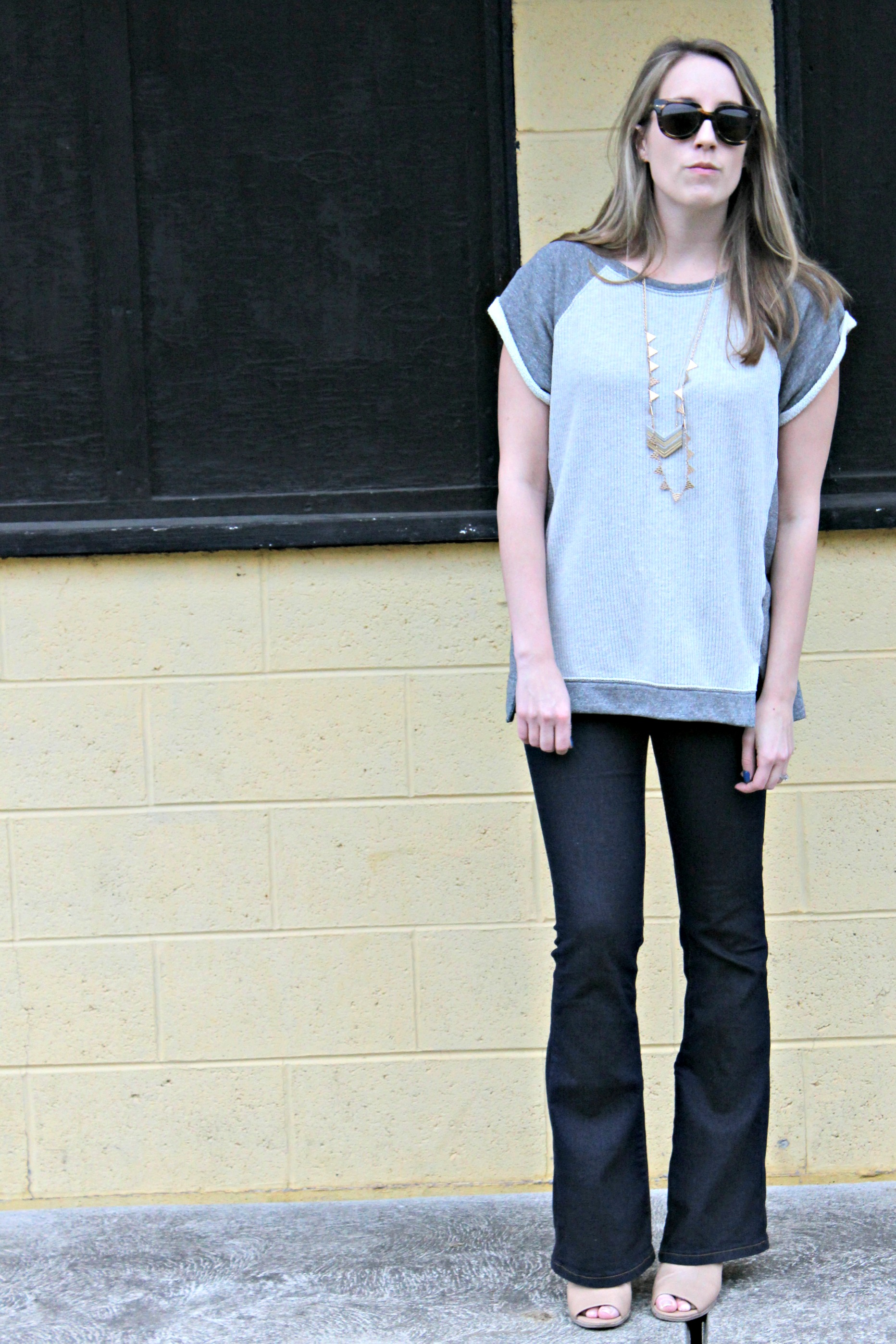 Wearing: Short Sleeves and Long Flares