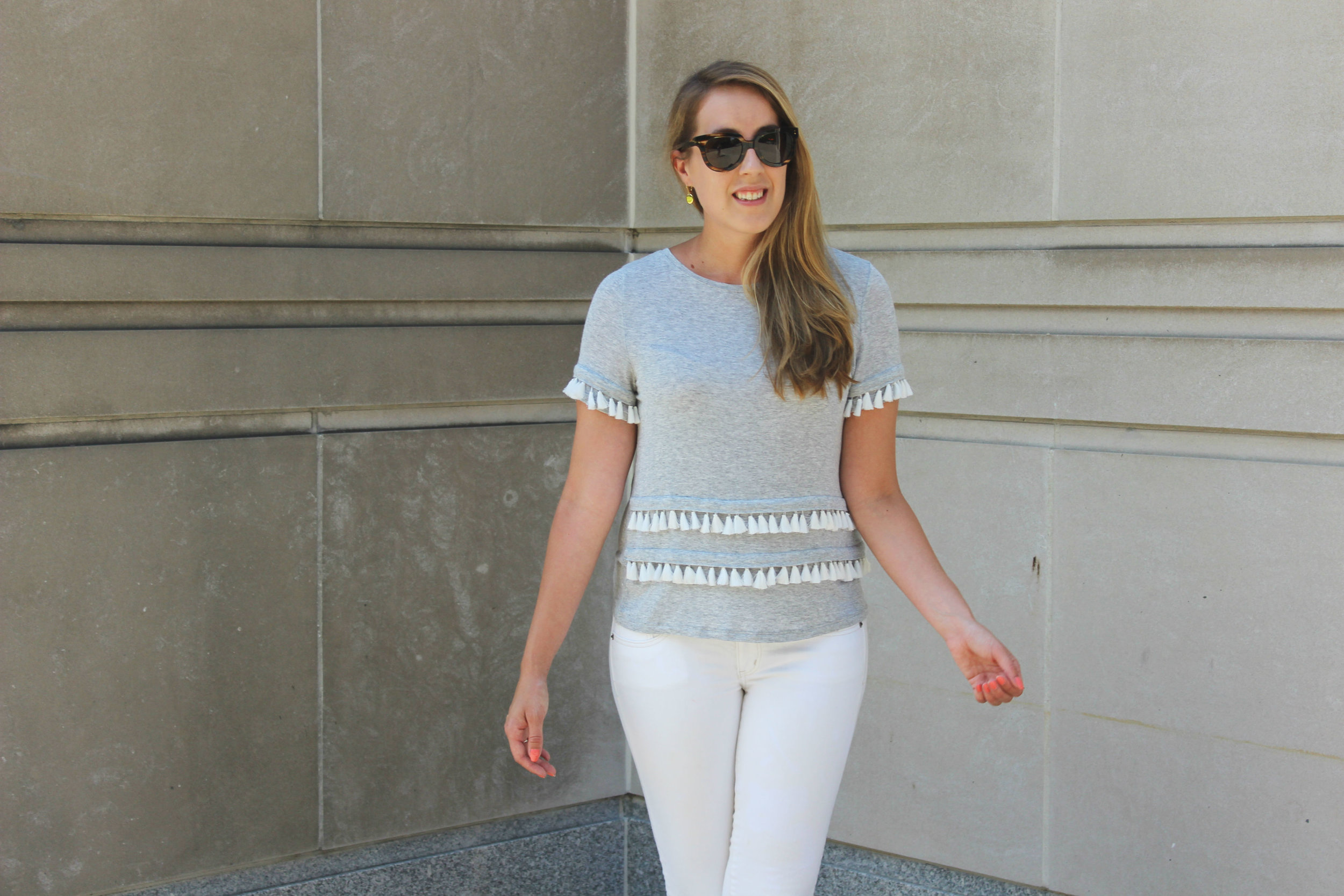 Wearing: Tassel Shirt and White Jeans