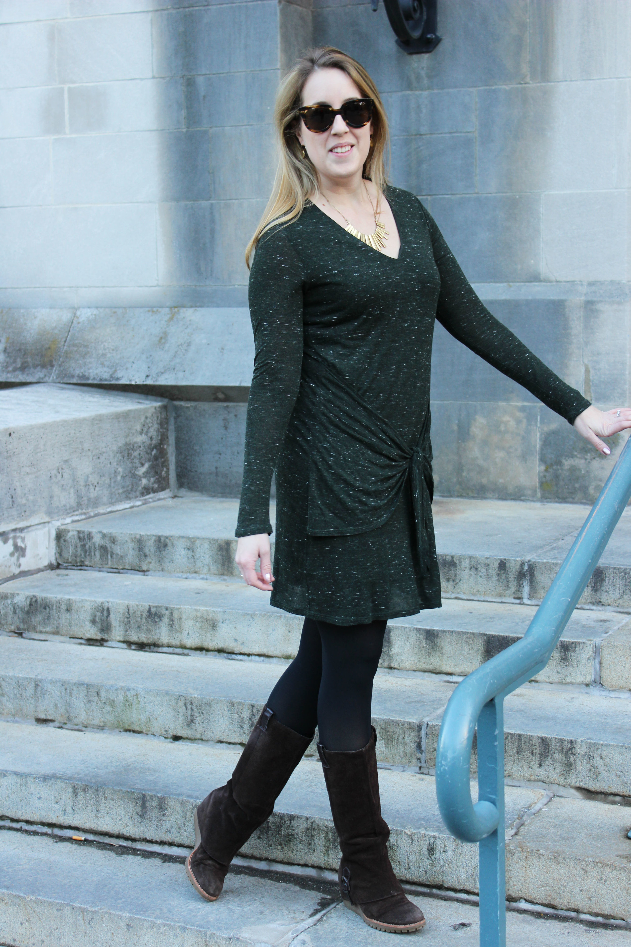 Wearing: Winter Work Dress in Green