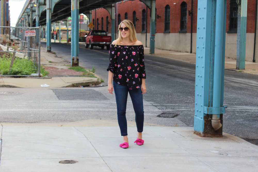 Styling an off-the-shoulder top for fall