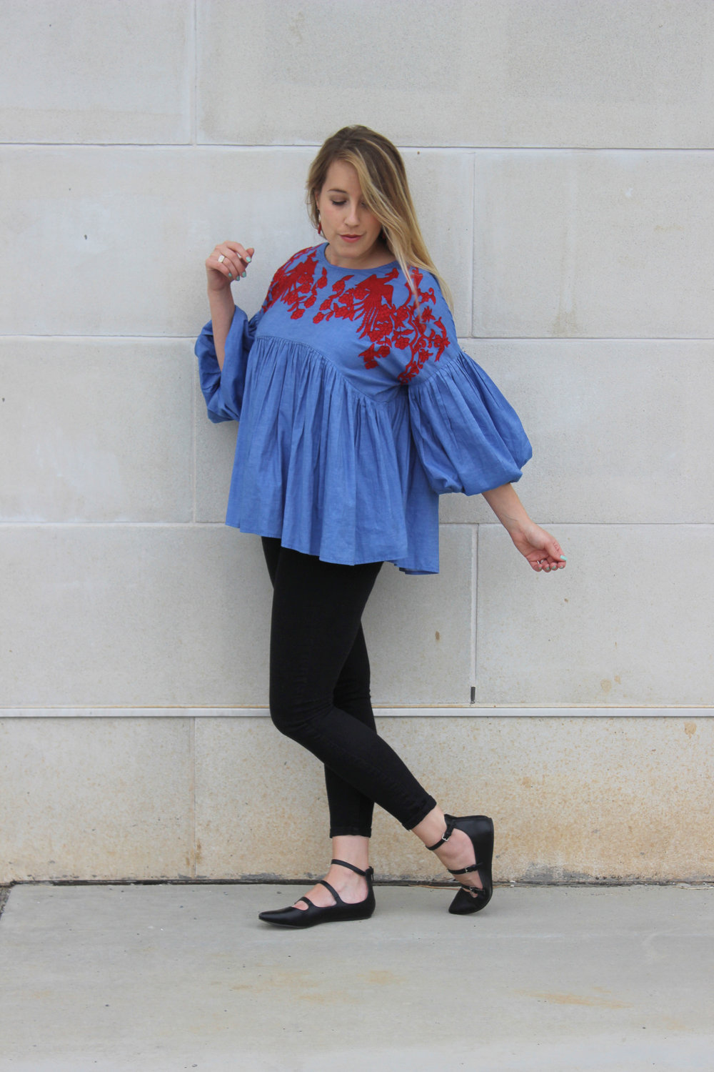 Work Wear Wednesday: Oversized Embroidered Top