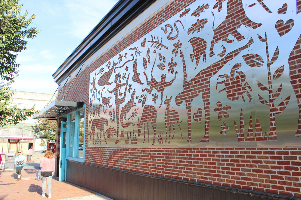Small Town NJ: Montclair - cut metal mural outside Lululemon