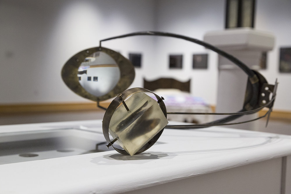 John Muehl,Aggressive Observation,2016, Brass, glass, forged steel, resin, moth specimen. 2016 School of Art and Design BFA Thesis Exhibition.
