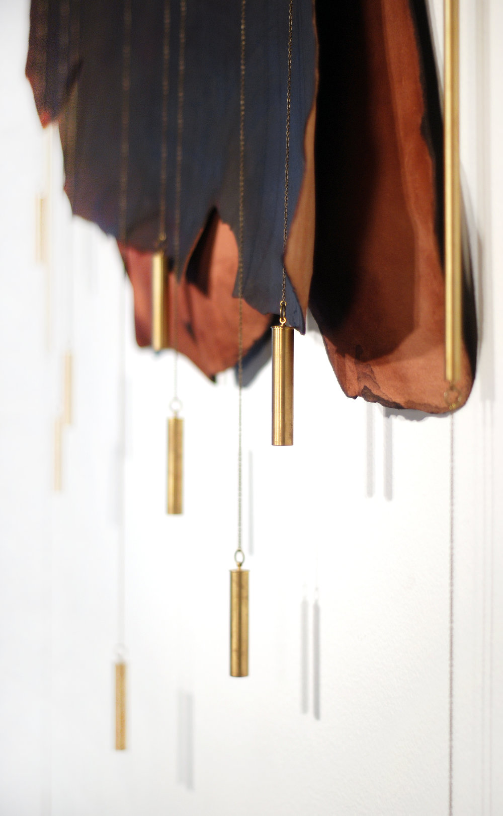 Heather Scott Peterson, Anachrony (detail), 2015, machined brass and wine-boiled leather.
