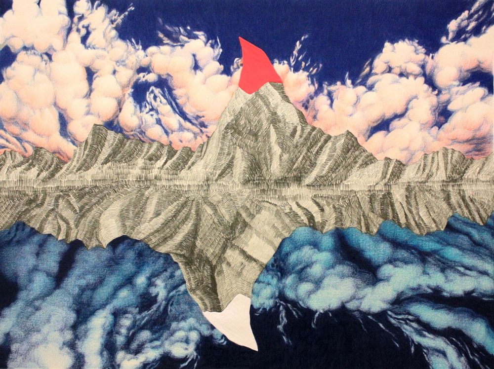 Soomin Jung,   Matterhorn: Iceberg , 2014, colored pencil, graphite, gouache, 11 1/2 x 15 inches. 2017 School of Art and Design Faculty Exhibition.