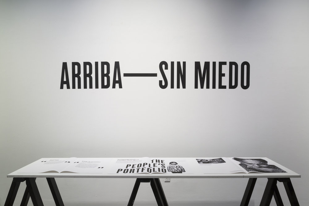 Héctor Marroquín,  Arriba—Sin Miedo: Contesting the Anti-Immigrant Metanarrative through Storytelling Artifact,  installation, 2018. Spring 2018 M.F.A. Thesis Exhibition.