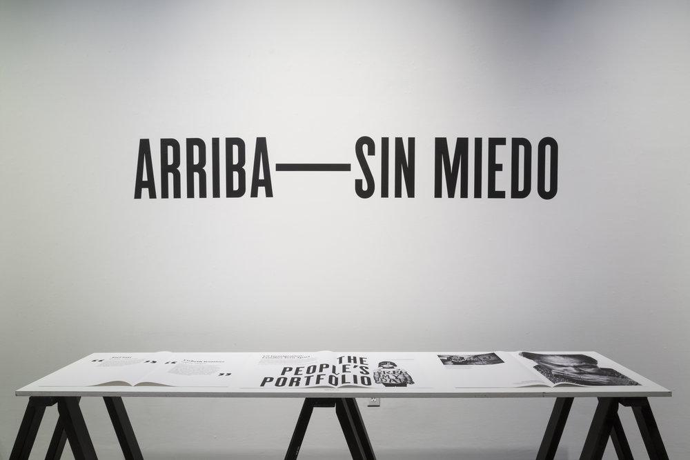 Héctor Marroquín,  Arriba—Sin Miedo: Contesting the Anti-Immigrant Metanarrative through Storytelling Artifact,  installation, 2018. Spring 2018 M.F.A. Thesis Exhibition.