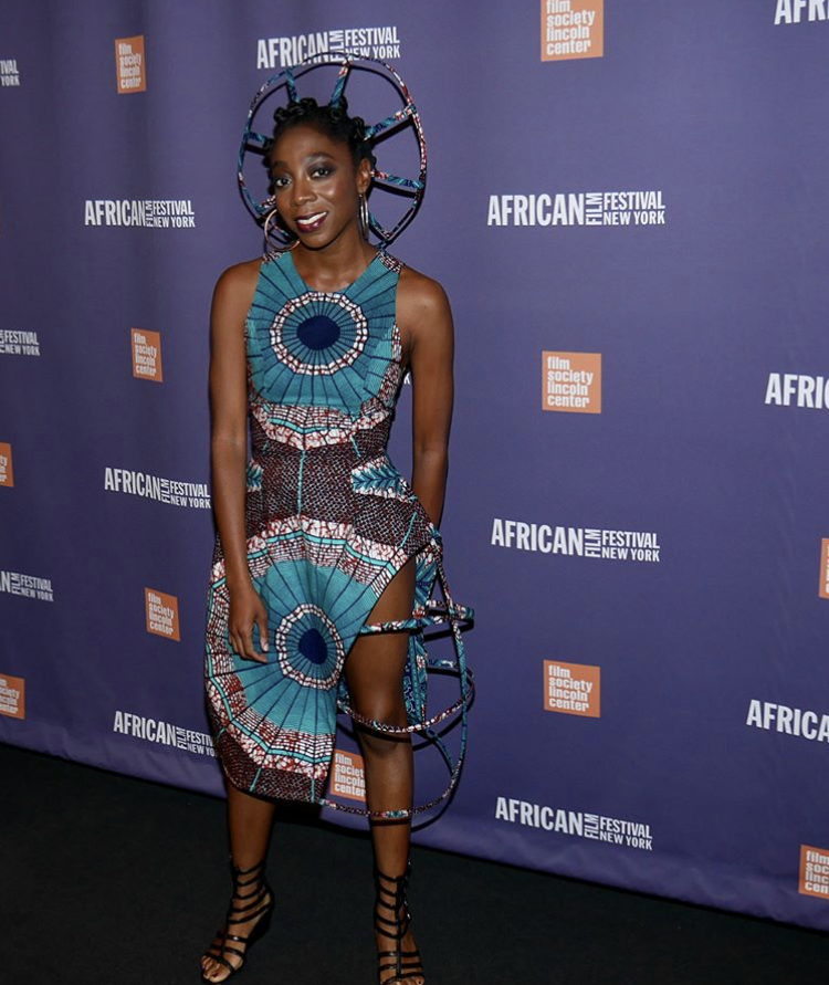 Pictured: Adoma in final look on the African Film Festival Red Carpet in New York.