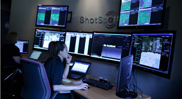Employees of ShotSpotter monitored for gunfire from a control room in Mountain View, Calif.  PHOTO CREDIT:  Annie Tritt for The New York Times