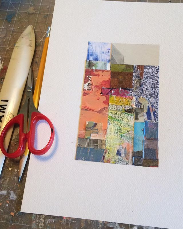 A Saturday start in the studio!  #mixedmediaartist #ohioartist #columbuscreates #artinprogress #abstractcollage #wip #colorenthusiast #studiotime #happysolopreneur #creativewomen #femalecollageartist #mycreativebiz