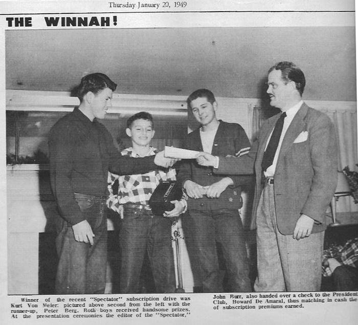 """Here's Kurt at 14 accepting a """"handsome prize"""" as an award for selling ads in the """"Spectator""""."""