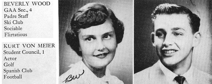 His high school senior photo as it appeared in the 1952 Carmel High School yearbook,  El Padre.