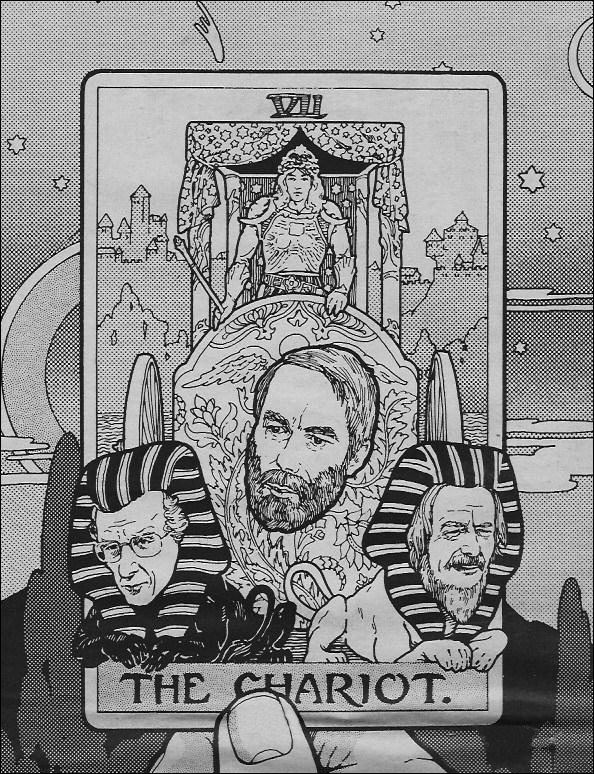 The Pacific Sun newspaper published an article by Clifford Barney about the AUM Conference. This illustration is by Tom Cervenak, and appeared on the cover; Brown is depicted in the center, Alan Watts is to the right and John Lilly is to the left.