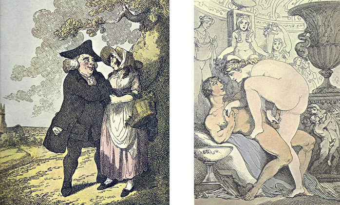 """Left:  THE MAN OF FEELING  - The Parson, with a copy of an """"Essay on Women"""" poking out of his pocket, is attempting to put into practice a little of what he has been preaching—or at least reading about. It is surprising how Rowlandson, with the frequently bawdy and transparently sensual activity of his scenes, still manages to convey an occasional feeling of tenderness. In any case it is easier for us to see this more overt acceptance of sensuality and sexuality—so characteristic of pre-Victorian England—now that we have that later period as historical perspective.  Right:  THE ANCIENTS  - Here the title reaffirms the general conclusion that Rowlandson, when depicting totally nude figures, places them in a setting or pose (or both) replete with classical allusions. In addition to various Greco-Roman elements, such as the vase with the classic dolphin, and the scene at its base which may represent the rape of the Sabine women, there is the interesting Egyptian figure behind the girl's head. The primary subject may have been derived from the myth of Pygmalion, since there is a sculptor's mallet and other tools at the foot of the bed."""