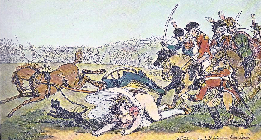 Presumably based upon an incident involving an English Princess in 1800, Rowlandson caricatured the military pomp and pretension with at least as much glee as he spent upon politicians or the nobility. The French military, particularly during the active military campaigns of Napoleon Bonaparte, also came in for a heavy share of satirical treatment from Rowlandson.