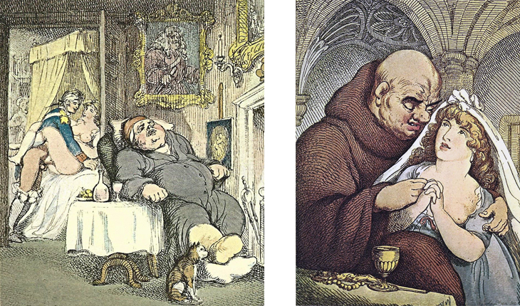 Left:  THE OLD MAN  - One of Rowlandson's favorite domestic subjects is the act of cuckolding, with the victim usually suffering, in addition, the pains of gout. These scenes are regularly dressed with decanters and glasses, bowls of fruit, and the other ideal furnishings including heavily framed paintings. Here we see also the incipient discovery—by a maid peering around the corner of the bed through the open door. An amusing detail is the priapic- Buddha.  Right:  SYMPTOMS OF SANCTITY  - Another cloister scene, but here the monk is patterned after Ghirlandaio's familiar portrait of a Florentine merchant and his grandson—the pose of an old man is almost identical, but the young Italian boy has been transformed into an object of entirely different kinds of affection. A copy of this print, dated 1801, is in the British Museum collection, which harbors a considerable store of Rowlandson's suggestive and erotic works.