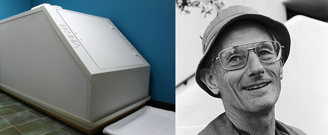 Left: An early generation flotation tank based on John Lilly's design shown at the top of the page. Right:   John C. Lilly   during the 1970s.