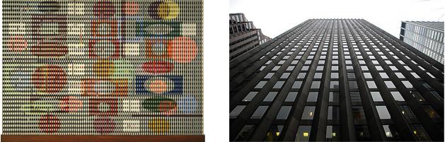 "Left: Agam's ""Double Metamorphosis II"" Right: Sarinen's CBS Building in Manhattan"