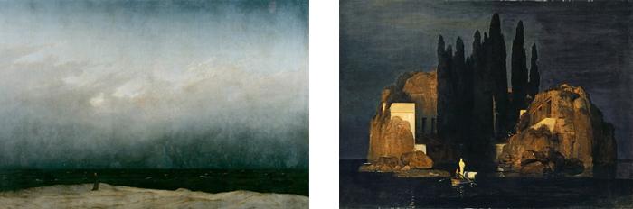 "Left: Freidrich's ""Monk on the Seashore"" Right: Bocklin's ""The Island of the Dead"""