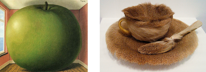 """Left: Magritte's """"The Listening Chamber"""" Right: Oppenheim's """"Fur-covered Cup, Saucer and Spoon"""""""