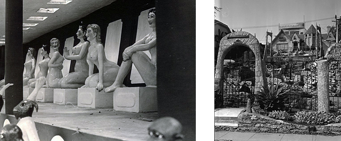 """Left: Hong Kong's Tiger Balm Gardens in the 1950s Right: Miriam Hopkins' """"Castle of Enchantment"""" in Los Angeles in 1954"""