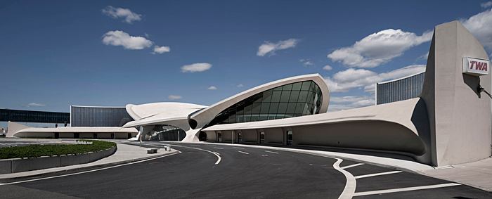 The TWA terminal at JFK Airport, now being converted to a hotel (2017)