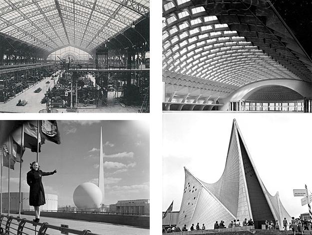 "Clockwise from upper left: Dutert and Contamines' ""Halle des Machines""; Nervi's ""Exhibition Building""; Le Corbusier's ""Phillip's Pavilion""; Harrison and Fouilhoux's ""Trylon and Parisphere"""